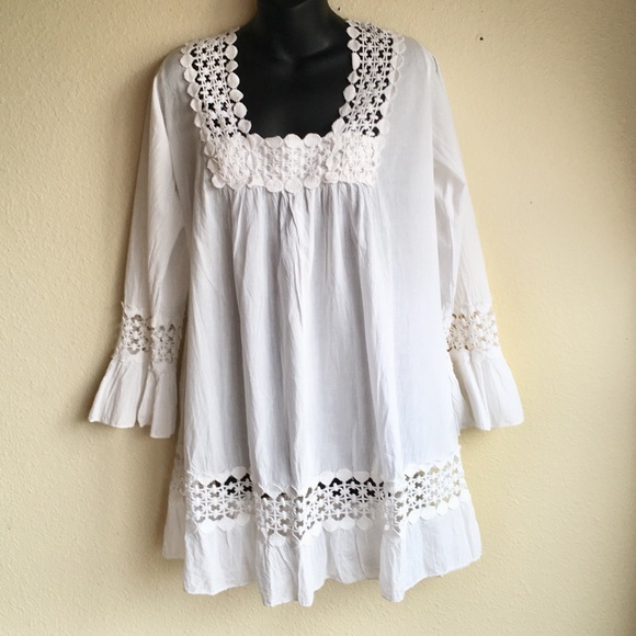 7df875cbbab S.R. Fashions Tops | White Semi Sheer Lace Peasant Tunic | Poshmark